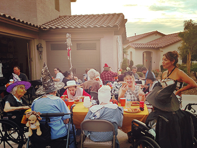 Residents enjoying Halloween
